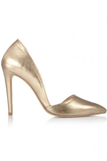 Pantofi stiletto piele bronz auriu