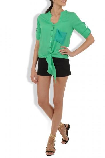 Camasa verde cu maneci reglabile si colturi