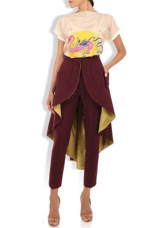 Fusta asimetrica din stofa pentru tinuta cu pantalon