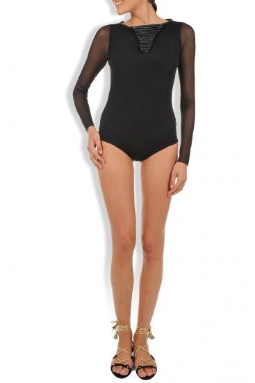 Body negru din tull elastic si insertii piele