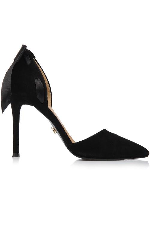 Pantofi negri toc cui si funda satin