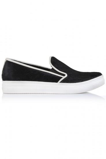 Sneakers piele neagra tip ponei
