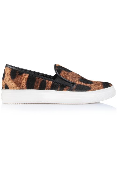 Sneakers piele print leopard