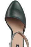 Pantofi piele verde cu toc gros