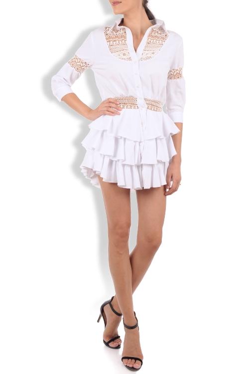 Rochie camasa cu volane bumbac alb si broderie