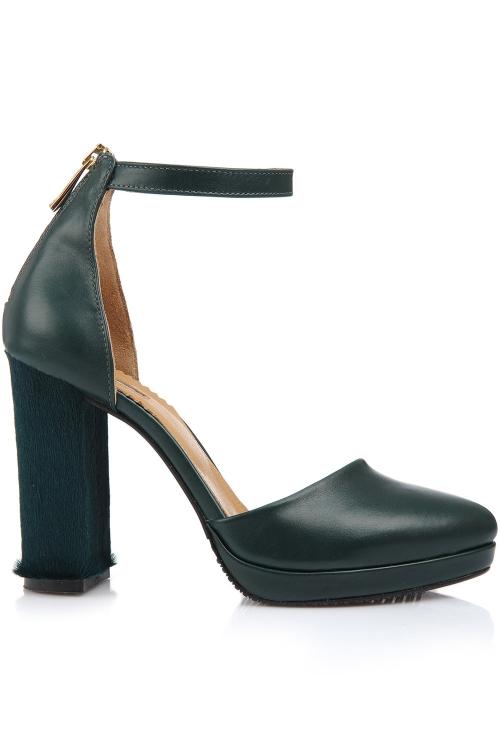 Pantofi piele verde cu toc gros piele ponei