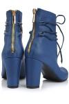 Botine piele albastra cu snururi culori diferite