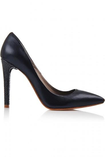 Pantofi stiletto negri cu toc piele sarpe