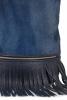 Geanta sac cu franjuri piele albastra