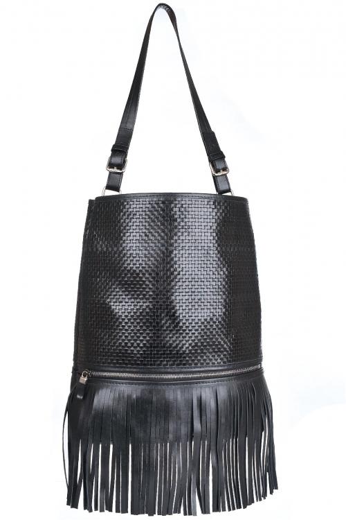 Geanta sac cu franjuri piele neagra