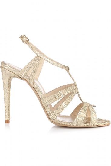 Sandale cu toc piele aurie cu reflexe