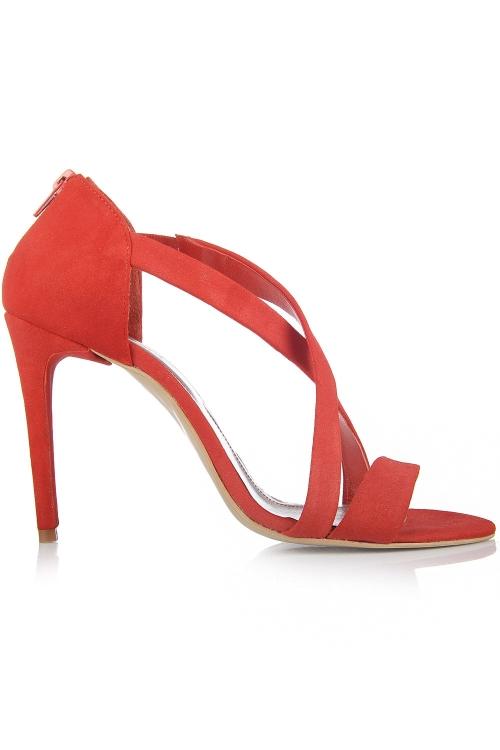 Sandale cu toc din piele intoarsa rosie