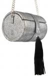 Poseta cilindru piele argintie si ciucure